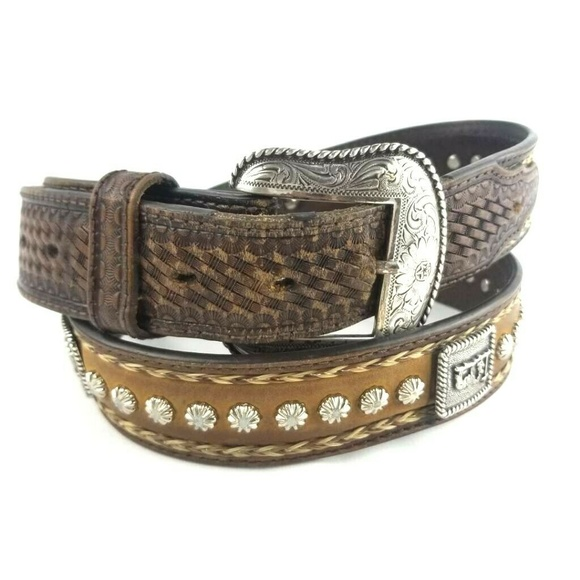 Mens Concho Western Belt Genuine Leather Cowboy Silver Studs Buckle Rust Brown